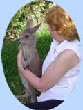 Margaret Warner with grey kangaroo